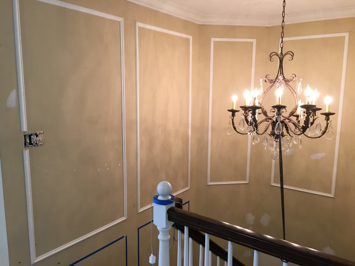 Custom Wainscoting in Master Staircase Final